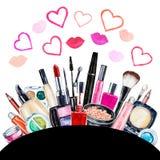 Ensemble de cosmétique décoratif de diverse aquarelle Produits de maquillage illustration de vecteur