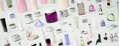 Ensemble de cosmétique décoratif Poudre, crayon correcteur, brosse de fard à paupières, Photos libres de droits