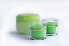Ensemble de cosmétique de bouteilles crèmes Image stock