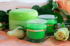 Ensemble de cosmétique de bouteilles crèmes dans les roses Image stock