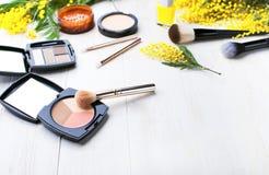 Ensemble de cosmétiques décoratifs pour le correcteur Brushes de fard à paupières de fard à joues de poudre de maquillage et les  Photographie stock libre de droits
