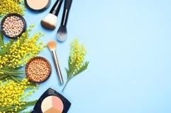 Ensemble de cosmétiques décoratifs pour le correcteur Brushes de fard à paupières de fard à joues de poudre de maquillage et les  Images stock