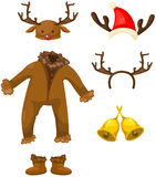 Ensemble de costume de cerfs communs de Noël Photo stock