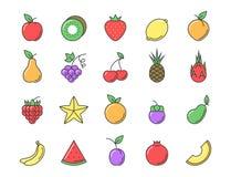 Ensemble de couleur d'icône de fruit frais Photos stock