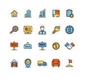 Ensemble de couleur d'icône de Real Estate Vecteur Image libre de droits