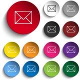 Ensemble de couleur de cercle d'icône d'enveloppe de courrier Photos stock