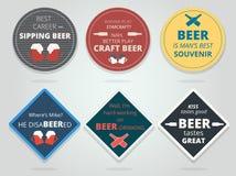 Ensemble de couleur en rond et caboteurs et Mats Wit prêts carrés de bière illustration de vecteur