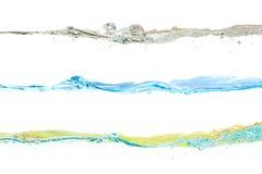 Ensemble de couleurs d'ondes d'eau naturelles, bleues et jaunes Photographie stock libre de droits