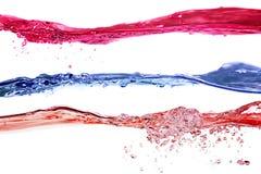 Ensemble de couleurs d'ondes d'eau pourprées, bleues et rouges Image libre de droits