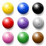 Ensemble de couleurs de boules de bowling Images stock