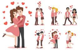 Ensemble de couples de bande dessinée de caractères d'amant pour le jour de valentines d'amour images libres de droits