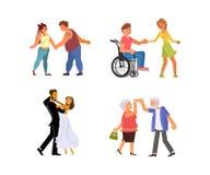 Ensemble de couples de danse illustration de vecteur