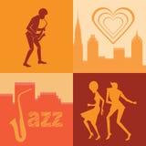 Ensemble de couples et de musicien de silhouettes Images stock