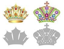 Ensemble de couronne, de diadème, de diadème et de silhouettes d'or illustration stock