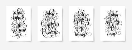 Ensemble de courrier noir et blanc de conception d'alphabet de lettrage de la main quatre illustration de vecteur