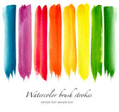 Ensemble de courses colorées de brosse d'aquarelle Image stock