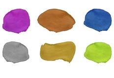 Ensemble de courses colorées de peinture Calibres de vecteur Peinture violette, orange-foncé, bleue, argentée, d'or, vert jaunâtr illustration libre de droits