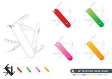 Ensemble de couteau de poche de vecteur Images stock