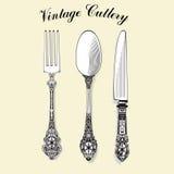 Ensemble de couverts de vintage images grafic Cuillère, fourchette, couteau Photographie stock