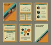 Ensemble de couverture et de page de livre financières de rapport d'affaires Photographie stock