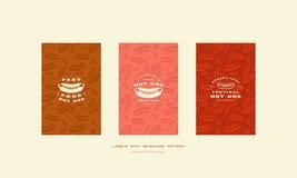 Ensemble de couverture de menu et modèle sans couture pour le wagon-restaurant de hot-dog Illustration Stock