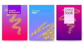 Ensemble de couvertures avec des formes géométriques et trace de scintillement de résumé de brosse Fond avec le modèle et le text Image stock
