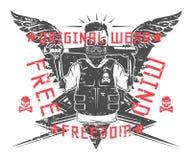 Ensemble de crâne rebelle et de copie noire et blanche squelettique de révolution pour le T-shirt Image libre de droits