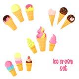 Ensemble de crème glacée de bande dessinée de vecteur Images libres de droits