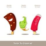 Ensemble de crème glacée de bande dessinée de vecteur Image stock