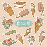 Ensemble de crème glacée de vecteur Photos libres de droits
