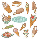 Ensemble de crème glacée de vecteur Photos stock
