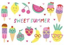 Ensemble de crème glacée et de fruits mignons d'isolement Images libres de droits