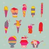 Ensemble de crème glacée lumineuse illustration de vecteur