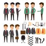 Ensemble de création de caractère d'homme d'affaires dans la diverse pose Escroquerie d'affaires Photographie stock