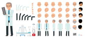 Ensemble de création de caractère d'homme Le pédiatre, médecin, médecin, docteur Images stock