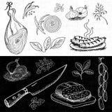 Ensemble de craie dessiné sur un aliment de tableau noir, épices Images stock