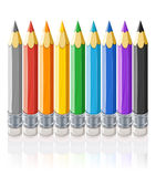 Ensemble de crayons de couleur Photos libres de droits