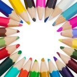 Ensemble de crayons de couleur disposés en cercle Image stock