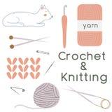 Ensemble de crochet et de matériaux de tricotage Photographie stock