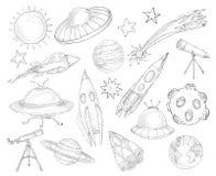 Ensemble de croquis d'objets de l'espace Photographie stock