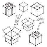 Ensemble de croquis de griffonnage des cadeaux et des boîtes aux lettres Photographie stock
