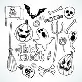 Ensemble de croquis de Halloween Images stock