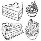 Ensemble de croquis de la tarte, tranche de gâteau Image libre de droits