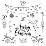 Ensemble de croquis de Noël heureux illustration stock