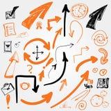 Ensemble de croquis de vecteur de flèches et de sighns EPS10 Image libre de droits