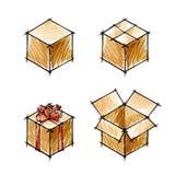 Ensemble de croquis des cadeaux et des boîtes aux lettres Images libres de droits