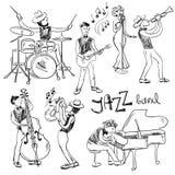 Ensemble de croquis Jazz Musicians Photos libres de droits