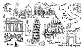 Ensemble de croquis de vecteur de point de repère de l'Italie Colisé, ponts Venise, tour Pise, Vatican, Rimini, voûte Augustus, d illustration libre de droits