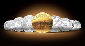 Ensemble de cryptocurrencies avec un bitcoin d'or sur l'avant en tant que chef illustration libre de droits