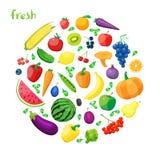 Ensemble de cuisine saine organique végétarienne de nourriture de vecteur légume et fruits réalistes naturels organiques Photographie stock libre de droits